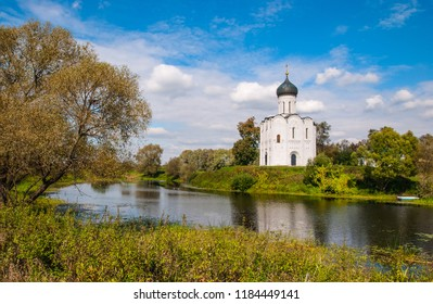 Orthodox church of the Protection of the Holy Virgin with reflection in the river Nerl, Russia