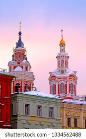 Orthodox Church in Russia Moskow photographed at sunset in winter