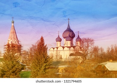 Orthodox Church in Russia Suzdal photographed at sunset in winter