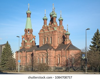 Orthodox Church of the Saint Alexander Nevsky and the Saint Nicholas in Tampere, Finland. The church was completed in 1899 by the design of the Russian architect T. U. Yazukov.