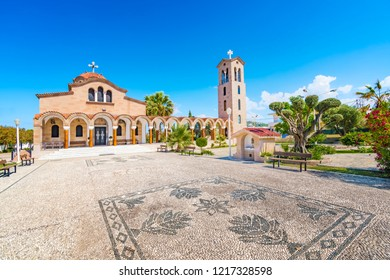 Orthodox church of Saint Nektarios with bell tower in Faliraki (Rhodes, Greece)
