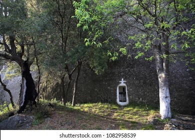 orthodox church shrine cut in the rocks, Meteora, Greece
