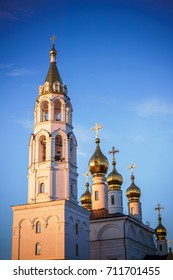 the Orthodox Church at sunset in spring