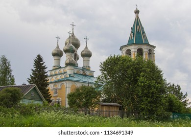 Orthodox church in the village of Matigory. Church of the Resurrection of Christ. Russia, Arkhangelsk region
