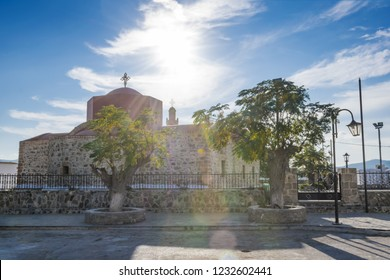 Orthodox church of Virgin Mary with bell tower in village of Asklipio (Rhodes, Greece)