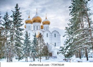 Orthodox church in winter in Yaroslavl, Russian Federation
