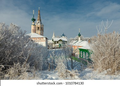 Orthodox churches and old houses. Frosty winter day in the Suzdal Kremlin, Russia. Suzdal is part of the tourist route called the Golden Ring of Russia.