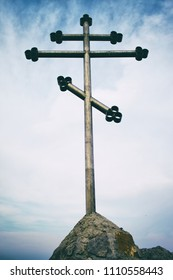 Orthodox cross on top of the mountain