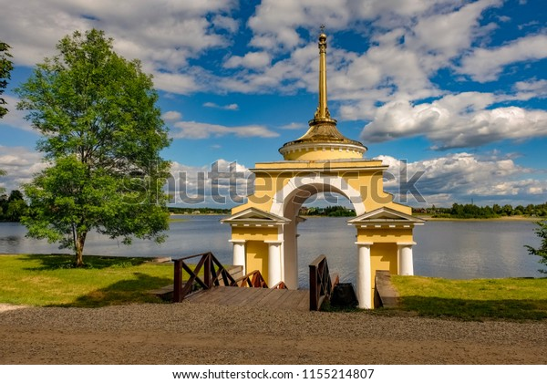 The orthodox gate, St. Nil Monastery, Stolobny island, Ostashkov district, Tver region, Russia