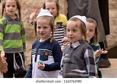 Orthodox Haredi jews children in the streets of Jerusalem Mea Shearim  oldest quarter. 10th May 2016. Jerusalem. Israel.