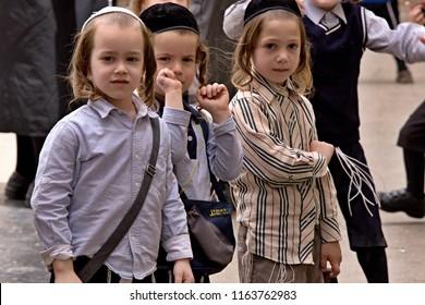 Orthodox Haredi jews children in the streets of Jerusalem Mea Shearim  oldest quarter. 10th May 2016. Jerusalem. Israel.
