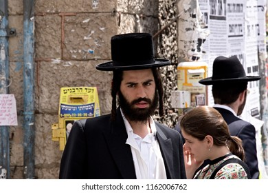 Orthodox Haredi jews in the streets of Jerusalem Mea Shearim  oldest quarter. 10th May 2016. Jerusalem. Israel.