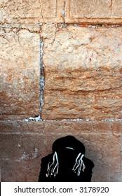 orthodox Jew prays at the western wall #4