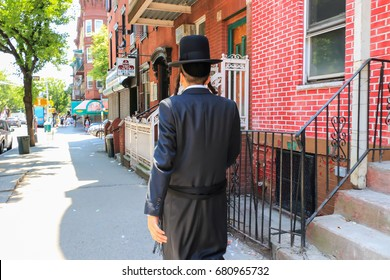 Orthodox Jew Wearing Special Clothes on Shabbat, in Williamsburg, Brooklyn, New York