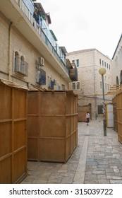 Orthodox Jewish Sukkahs during Sukkot holiday in Jerusalem, Israel