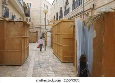 Orthodox Jewish Sukkahs during Sukkot holiday in Jerusalem, Israel