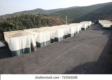 Orthodox Jewish Sukkahs during Sukkot holiday in meron, Israel Jewish Holiday Sukkot, A sukkah is a temporary hut constructed for use during the week-long Jewish festival of Sukkot