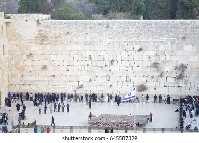Orthodox Jews praying at the Wailing Wall in Jerusalem Israel