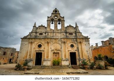 Orthodox monastery of Arkadi in Crete, Greece. Monastery of Arkadi - a symbol of fight for independence of Greece