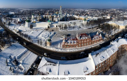 Orthodox shrine Troitsko Sergius Lavra in the winter sunny day from the air. The city of Sergiev Posad. Russia.