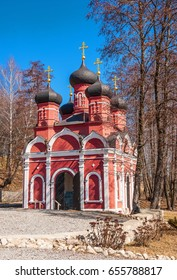 Orthodox temple in the spring forest in Ryazan