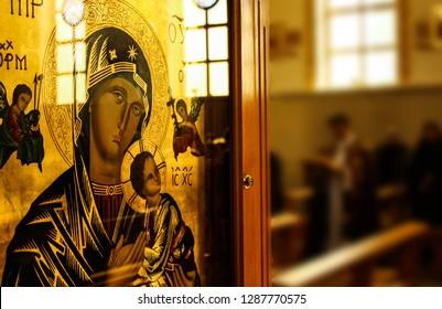 Orthodox Virgin Mary icon. Interior of the Catholic Church, Kazan, Russia