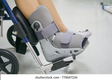 Orthopaedic Boot to a Patient. medical and healthcare concept. Image with copy space