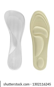 Orthopedic insoles for shoes, health accessories for walking. Textile and silicon insoles isolated on white background, clipping path included