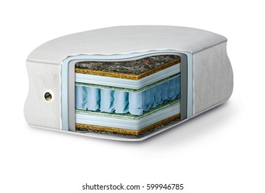 Orthopedic mattress in section on white background. Mattress composition