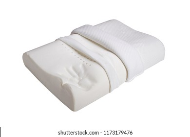 Orthopedic pillow, memory foam, Natural latex pillow on white background