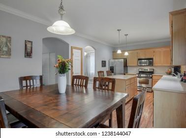 Orting, WA / USA - Nov. 21, 2018: Modern dining room and kitchen interior