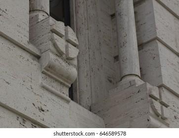 Ortodox church, window detail made with travertino stone.
