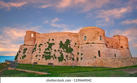 Ortona, Chieti, Abruzzo, Italy: The ancient Aragonese Castle at sunset, on the shore of the Adriatic Sea