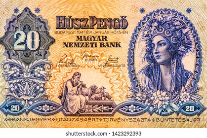Ortrait of a Hungarian lady in a national costume from old Forints  20 Pengos 1941 Hungarian banknotes.  Hungarian Pengosbank note in the national currency of Hungarian, Closeup Collection.