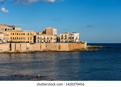 The Ortygia Island (Isola di Ortigia) in Syracuse city (Siracusa) with the Mediterranean Sea. Sicily, Italy, South Europe
