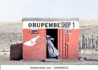 Orupembe, Kunene Region, Namibia - May 12, 2018 : The Kunene region is an arid desolate place, shops are few and far between and usually run by entreprenarial Herero women.