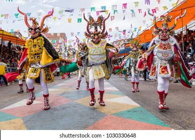 ORURO, BOLIVIA - FEBRUARY 10, 2018: Dancers at Oruro Carnival in Bolivia, declared UNESCO Cultural World Heritag on February 10, 2018 in Oruro, Bolivia