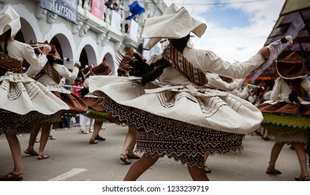 Oruro, Bolivia, February 2018: Oruro carnival with dancers performing on the street during the carnival procession