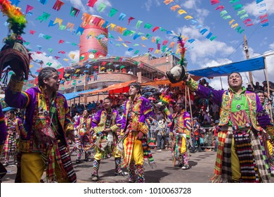ORURO - FEBRUARY 13: A group of folkloric dancer dressed up for the Oruro Carnival February 13, 2010 in Oruro, Bolivia. Oruro Carnival is one of the biggest carnival in South America