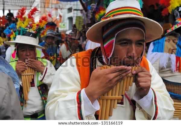 ORURO, POTOSI, BOLIVIA - FEBRUARY 9: Unidentified people participate in Oruro costume carnival on February 9, 2013 in Oruro, Potosi, Bolivia