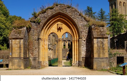 Orval Abbey. Trappist monastery. Belgium. Entrance to the ruined church of the old abbey