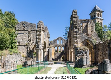 ORVAL, BELGIUM - AUGUST 23, 2016: Ruins Orval Abbey in Belgian Ardennes. The abbey is also famous for its trappist beer and botanical garden