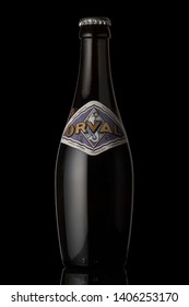 Orval trappist beer bottle isolated black background  Editorial Only