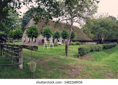 Orvelte, the Netherlands - August 18, 2019: Farm complex in the Orvelte Museum Village in Drenthe, the Netherlands