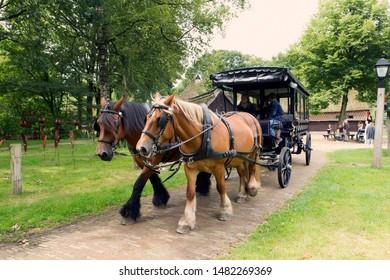 Orvelte, the Netherlands - August 18, 2019: covered wagon in Museum Village Orvelte in Drenthe, the Netherlands