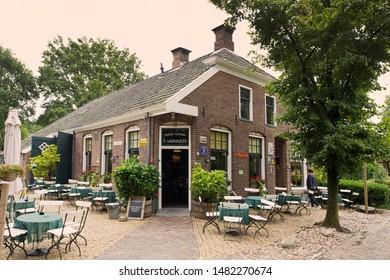 Orvelte, the Netherlands - August 18, 2019: Café Warmolds in Orvelte Museum Village in Drenthe, the Netherlands