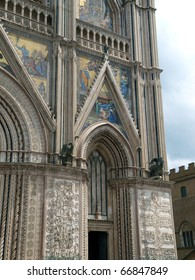 Orvieto - Duomo facade.West front of the Gothic facade of the Orvieto Cathedral, designed by Lorenzo Maitani.