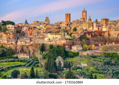 Orvieto historical hilltop Old town, view of the medieval walls and towers of the city