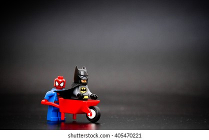 Orvieto, Italy - April 13th 2016: Batman an Spiderman Lego minifigure.. Lego is a popular line of construction toys manufactured by the Lego Group.