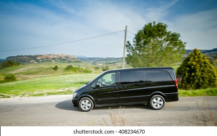 Orvieto, Italy - April 2th 2016: Mercedes Viano on country road.  Viano is a famous model of van